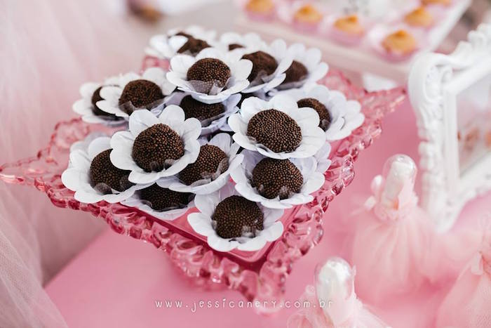Brigadeiros from a Pink Ballerina Birthday Party on Kara's Party Ideas | KarasPartyIdeas.com (28)