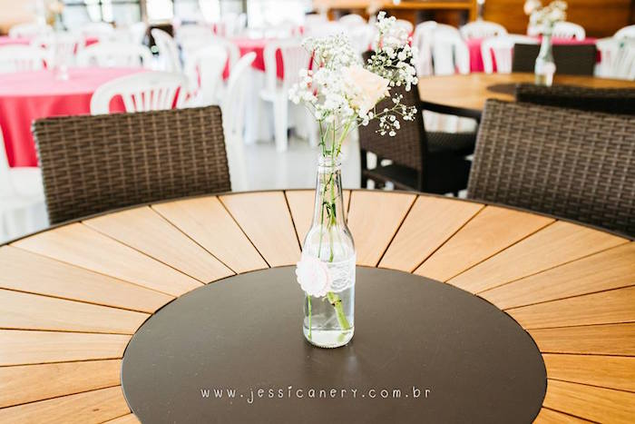 Glass bottle flower centerpiece from a Pink Ballerina Birthday Party on Kara's Party Ideas | KarasPartyIdeas.com (23)