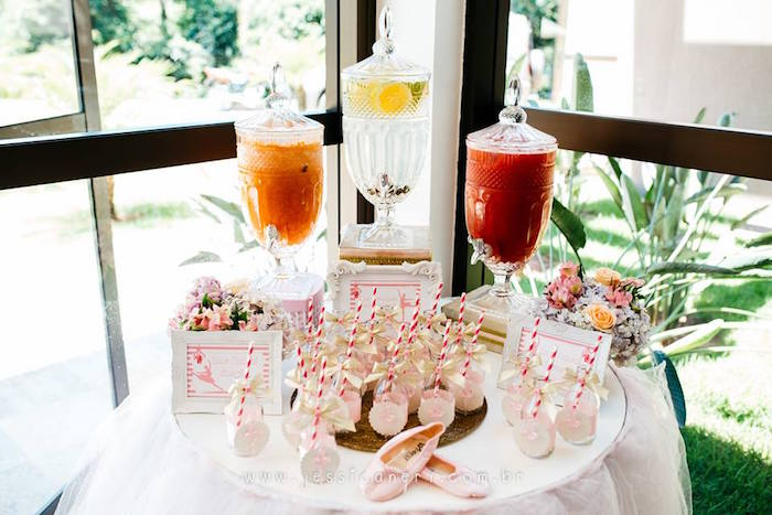 Beverage table from a Pink Ballerina Birthday Party on Kara's Party Ideas | KarasPartyIdeas.com (21)