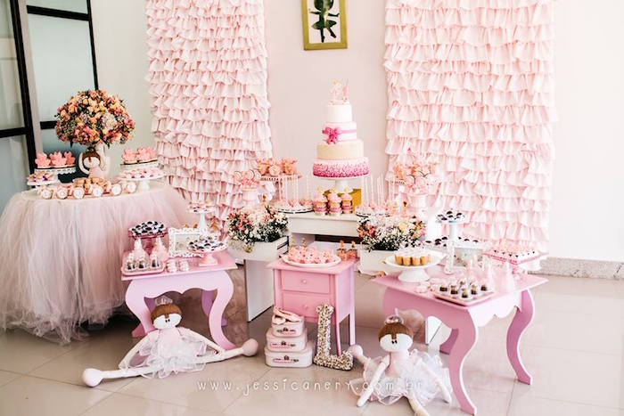 Dessert spread from a Pink Ballerina Birthday Party on Kara's Party Ideas | KarasPartyIdeas.com (20)