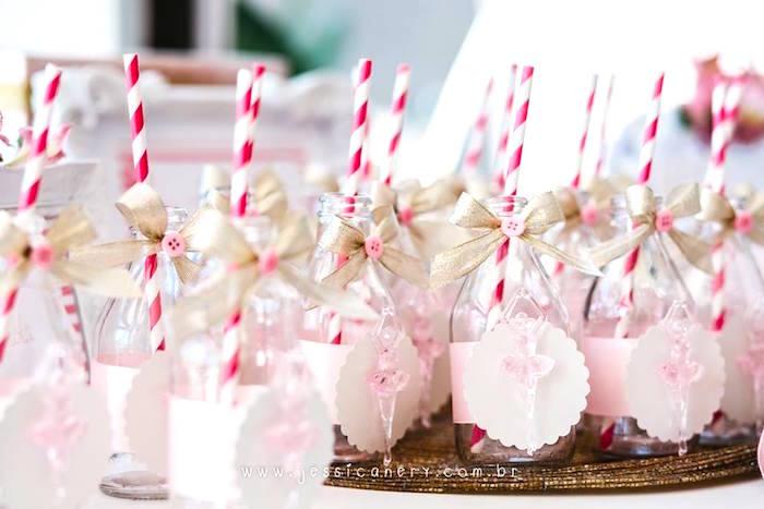 Twirling ballerina drink bottles from a Pink Ballerina Birthday Party on Kara's Party Ideas | KarasPartyIdeas.com (17)