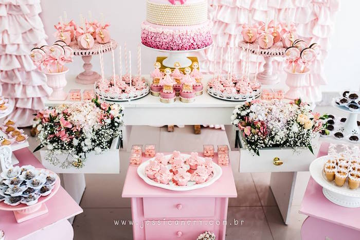 Sweet table detail from a Pink Ballerina Birthday Party on Kara's Party Ideas | KarasPartyIdeas.com (15)