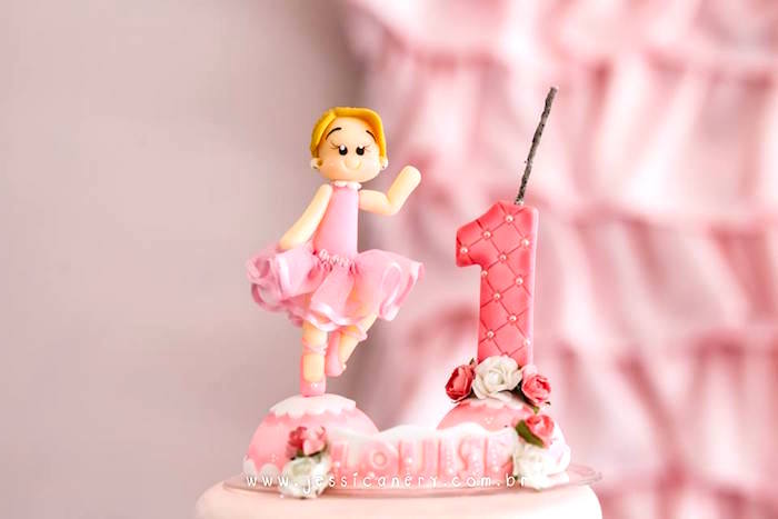 Ballerina cake topper from a Pink Ballerina Birthday Party on Kara's Party Ideas | KarasPartyIdeas.com (14)