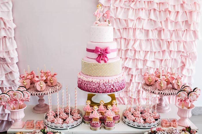 Dessert table from a Pink Ballerina Birthday Party on Kara's Party Ideas | KarasPartyIdeas.com (12)
