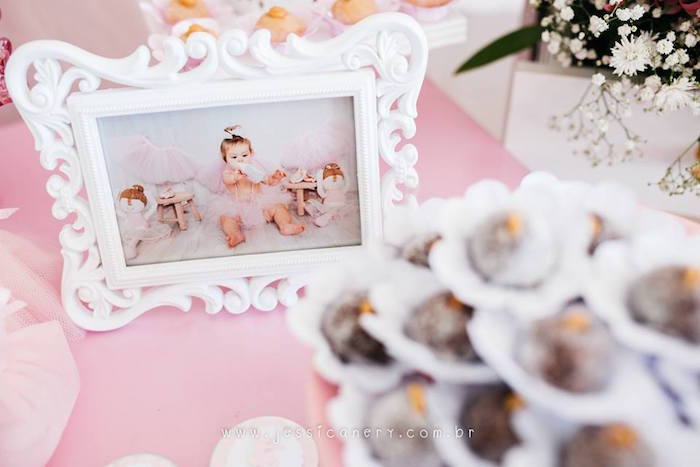 White framed photo from a Pink Ballerina Birthday Party on Kara's Party Ideas | KarasPartyIdeas.com (11)