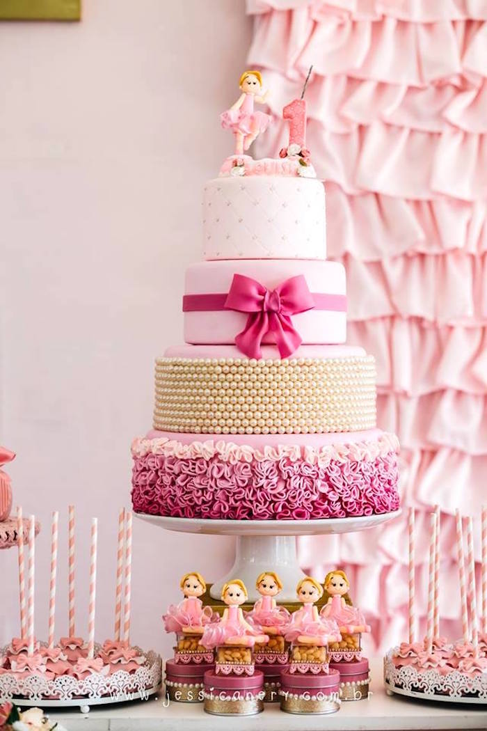 Ballerina cake from a Pink Ballerina Birthday Party on Kara's Party Ideas | KarasPartyIdeas.com (7)