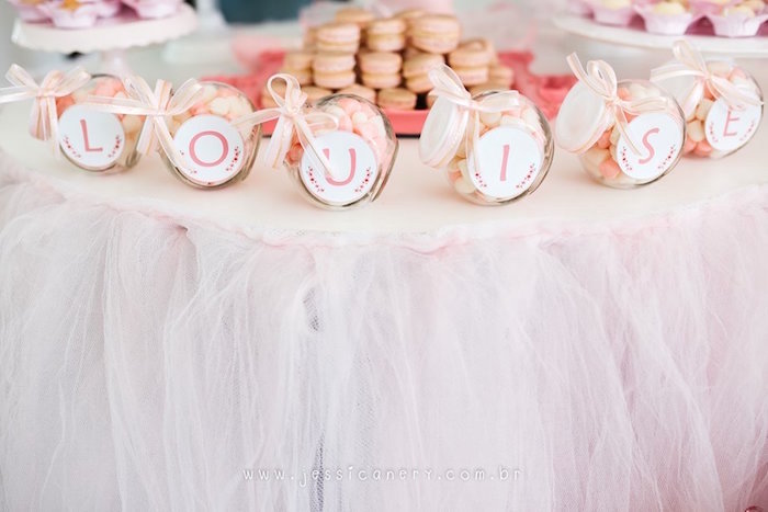 Letter adorned candy jars from a Pink Ballerina Birthday Party on Kara's Party Ideas   KarasPartyIdeas.com (36)