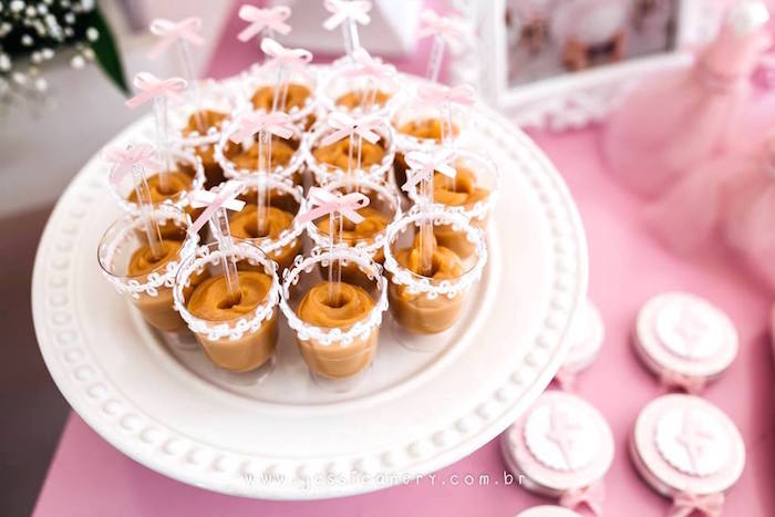 Dessert cups lined with ribbon from a Pink Ballerina Birthday Party on Kara's Party Ideas | KarasPartyIdeas.com (33)