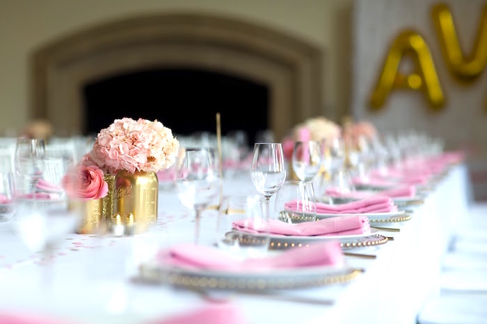 Guest tablescape from a Pretty in Pink Bat Mitzvah Birthday Party on Kara's Party Ideas | KarasPartyIdeas.com (19)