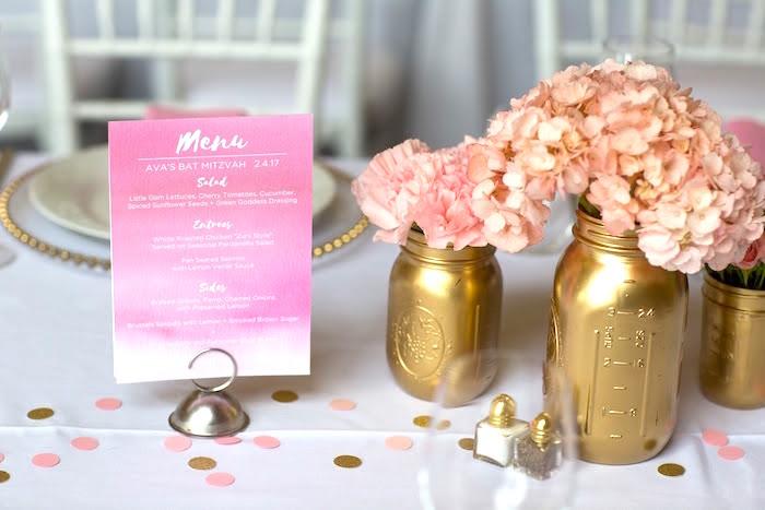 Menu from a Pretty in Pink Bat Mitzvah Birthday Party on Kara's Party Ideas   KarasPartyIdeas.com (18)