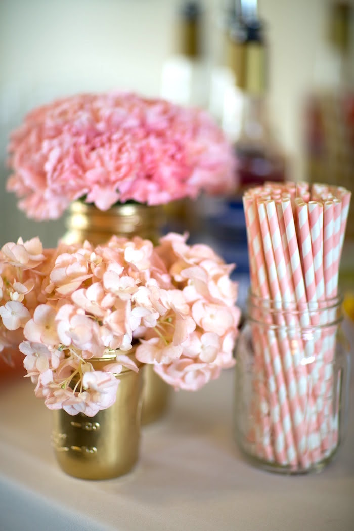 Blooms and paper straws from a Pretty in Pink Bat Mitzvah Birthday Party on Kara's Party Ideas | KarasPartyIdeas.com (14)
