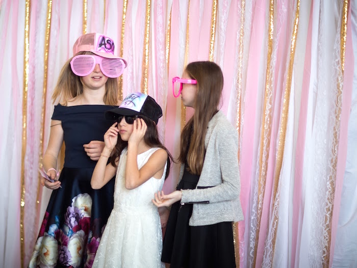 Photo booth from a Pretty in Pink Bat Mitzvah Birthday Party on Kara's Party Ideas | KarasPartyIdeas.com (13)