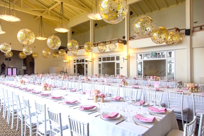Guest tables from a Pretty in Pink Bat Mitzvah Birthday Party on Kara's Party Ideas | KarasPartyIdeas.com (28)