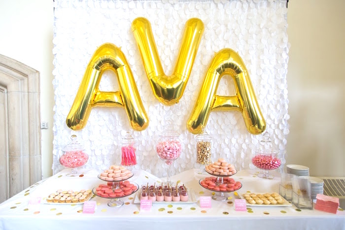 Candy buffet from a Pretty in Pink Bat Mitzvah Birthday Party on Kara's Party Ideas | KarasPartyIdeas.com (11)