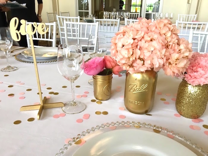 Floral centerpieces with gold mason jar vases from a Pretty in Pink Bat Mitzvah Birthday Party on Kara's Party Ideas | KarasPartyIdeas.com (8)