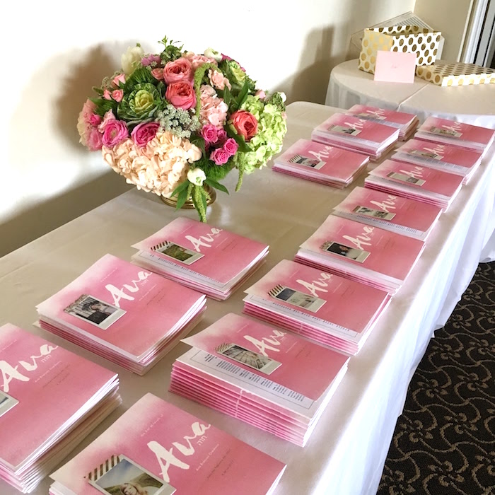 Photo book keepsakes from a Pretty in Pink Bat Mitzvah Birthday Party on Kara's Party Ideas | KarasPartyIdeas.com (6)