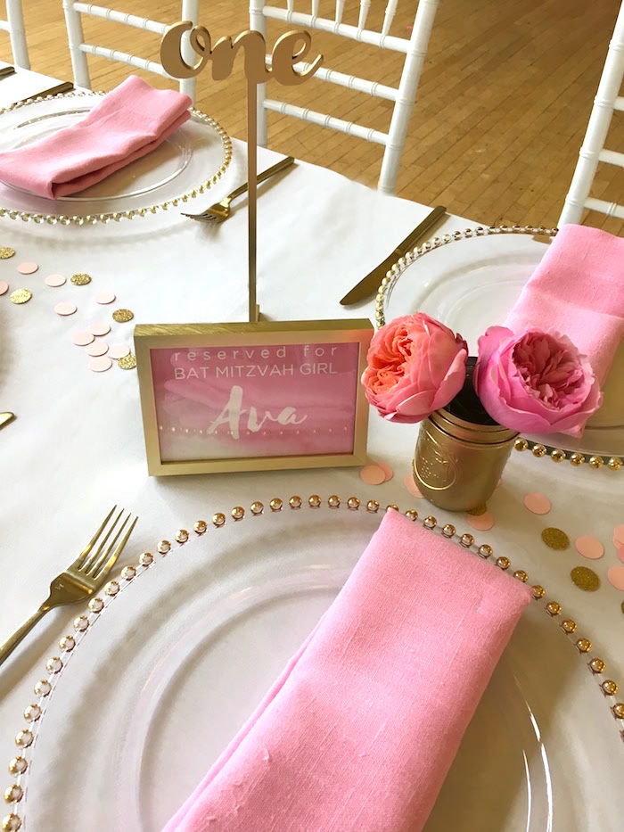 Place setting from a Pretty in Pink Bat Mitzvah Birthday Party on Kara's Party Ideas | KarasPartyIdeas.com (5)