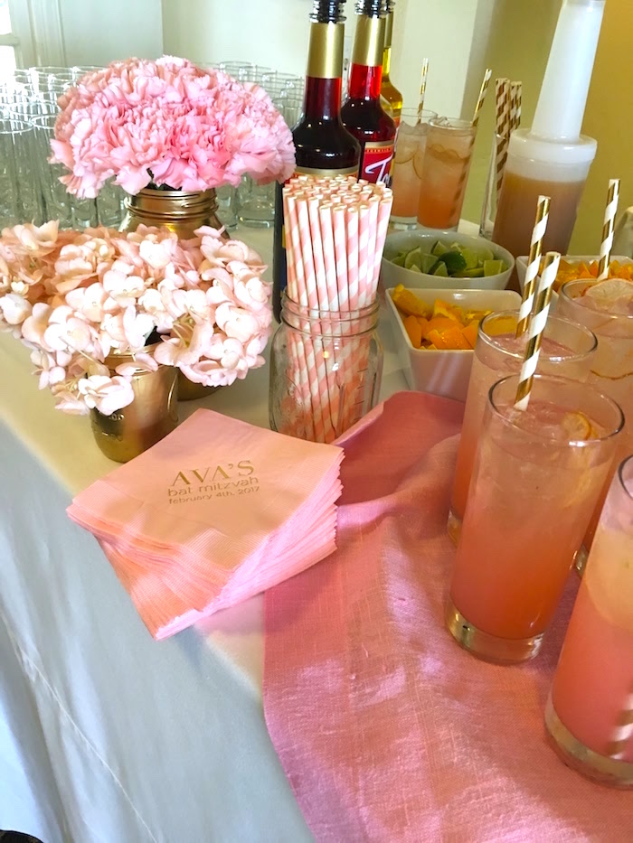 Party table from a Pretty in Pink Bat Mitzvah Birthday Party on Kara's Party Ideas | KarasPartyIdeas.com (4)