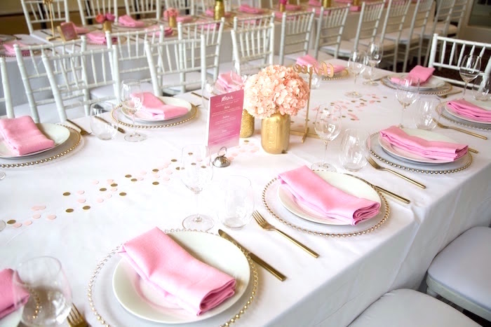 Place settings from a Pretty in Pink Bat Mitzvah Birthday Party on Kara's Party Ideas | KarasPartyIdeas.com (27)