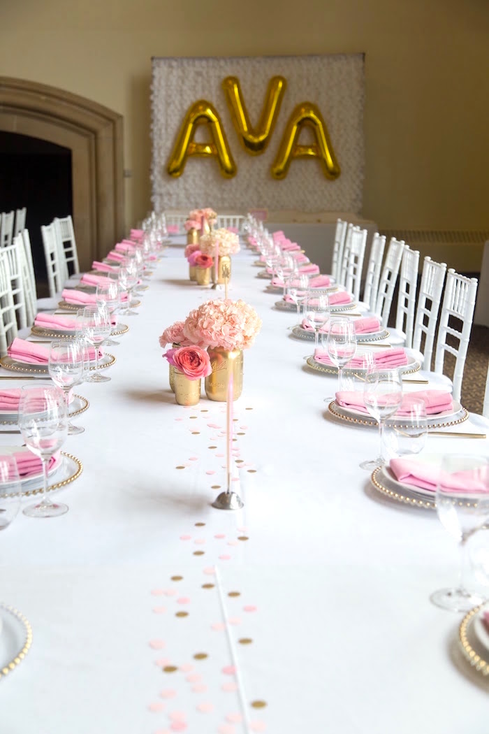 Guest table from a Pretty in Pink Bat Mitzvah Birthday Party on Kara's Party Ideas | KarasPartyIdeas.com (26)