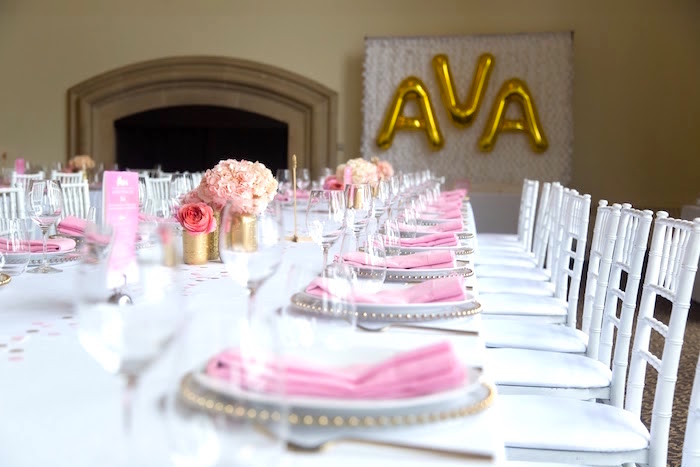 Guest table from a Pretty in Pink Bat Mitzvah Birthday Party on Kara's Party Ideas | KarasPartyIdeas.com (25)