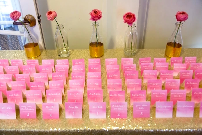 Guest table cards from a Pretty in Pink Bat Mitzvah Birthday Party on Kara's Party Ideas | KarasPartyIdeas.com (24)