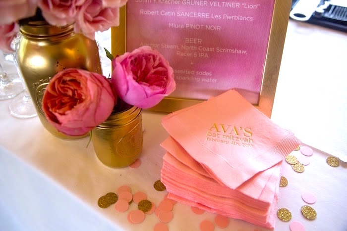 Custom pink + gold napkins from a Pretty in Pink Bat Mitzvah Birthday Party on Kara's Party Ideas | KarasPartyIdeas.com (21)