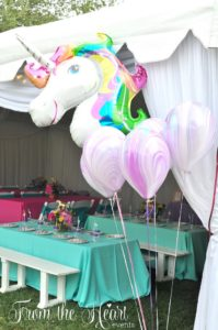Unicorn balloon bunch from a Rainbow Unicorn Birthday Party on Kara's Party Ideas | KarasPartyIdeas.com (20)