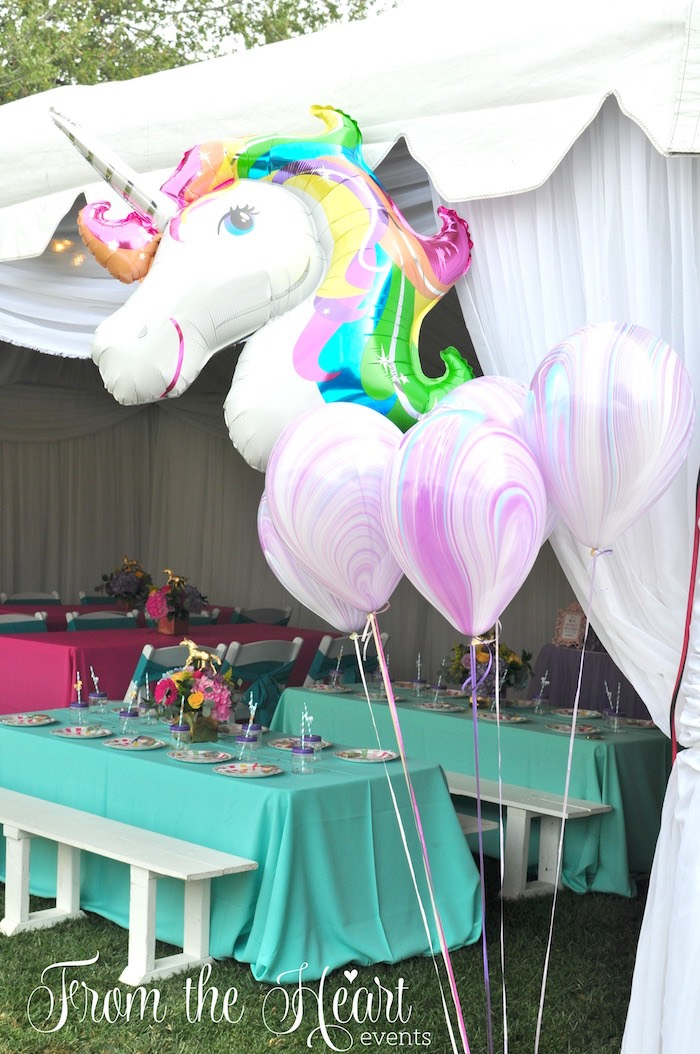 Unicorn balloon bunch from a Vibrant Unicorn Birthday Party on Kara's Party Ideas | KarasPartyIdeas.com (20)
