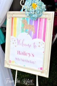 Welcome party sign from a Rainbow Unicorn Birthday Party on Kara's Party Ideas | KarasPartyIdeas.com (19)
