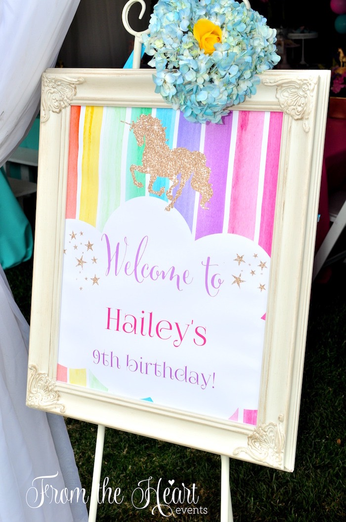 Welcome party sign from a Vibrant Unicorn Birthday Party on Kara's Party Ideas | KarasPartyIdeas.com (19)