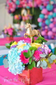 Floral unicorn centerpiece from a Rainbow Unicorn Birthday Party on Kara's Party Ideas   KarasPartyIdeas.com (17)