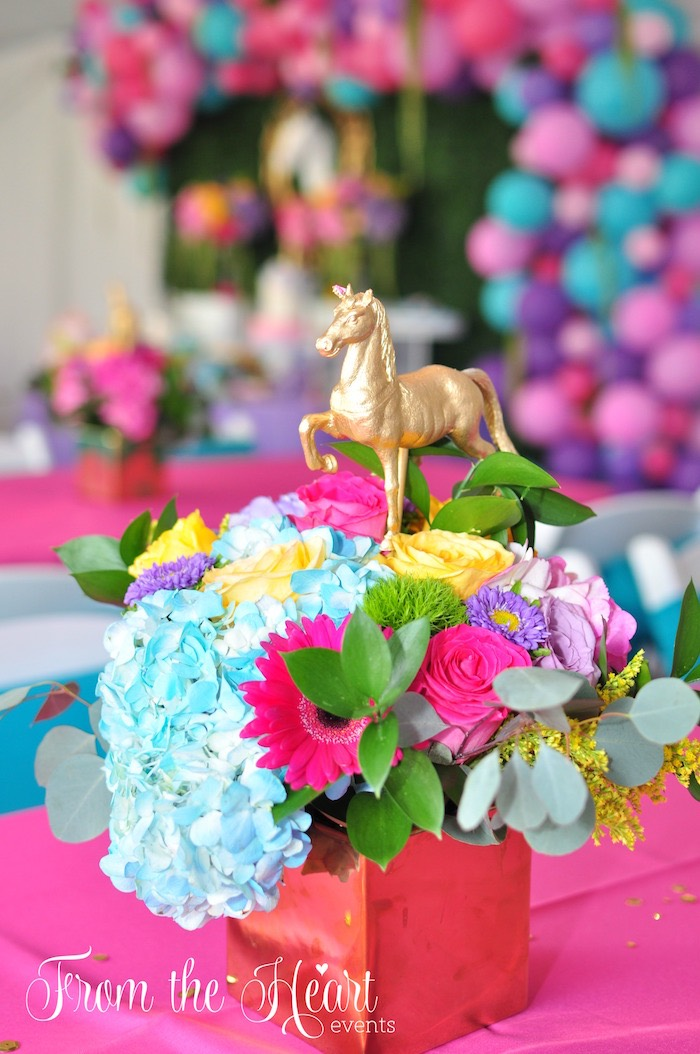 Floral unicorn centerpiece from a Vibrant Unicorn Birthday Party on Kara's Party Ideas | KarasPartyIdeas.com (17)