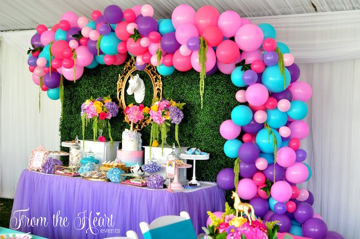 Rainbow dessert spread from a Vibrant Unicorn Birthday Party on Kara's Party Ideas | KarasPartyIdeas.com (16)