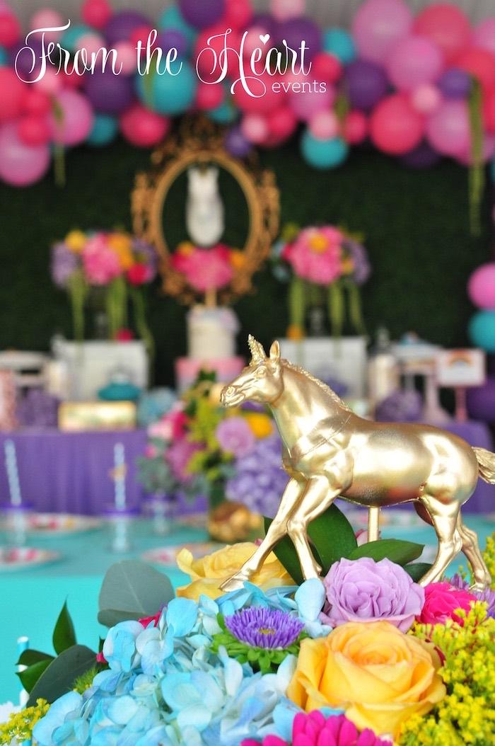 Gold unicorn centerpiece from a Vibrant Unicorn Birthday Party on Kara's Party Ideas | KarasPartyIdeas.com (15)
