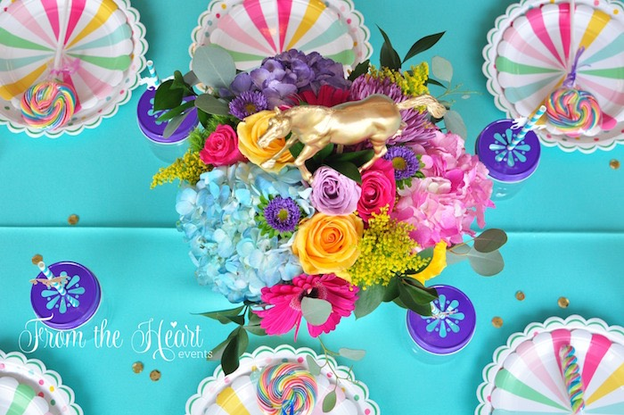 Guest tabletop from a Rainbow Unicorn Birthday Party on Kara's Party Ideas | KarasPartyIdeas.com (14)