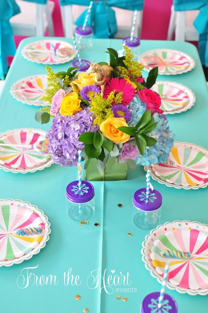 Guest table from a Vibrant Unicorn Birthday Party on Kara's Party Ideas | KarasPartyIdeas.com (12)
