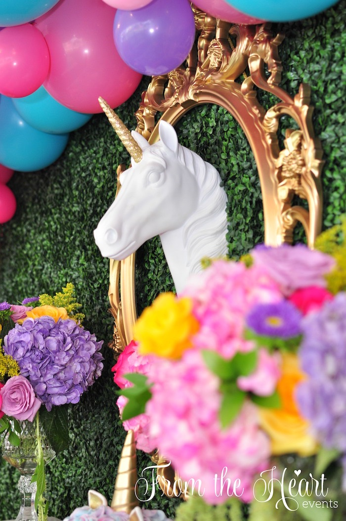 Unicorn head from a Vibrant Unicorn Birthday Party on Kara's Party Ideas | KarasPartyIdeas.com (7)