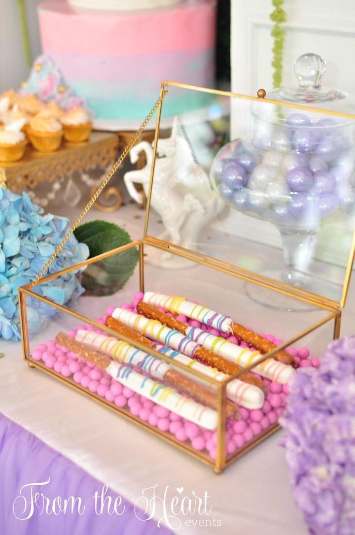 Chocolate dipped pretzel sticks from a Vibrant Unicorn Birthday Party on Kara's Party Ideas | KarasPartyIdeas.com (6)