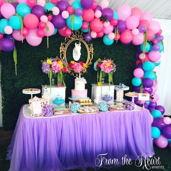Kara 39 s party ideas vibrant unicorn birthday party kara 39 s for 1 birthday decoration images