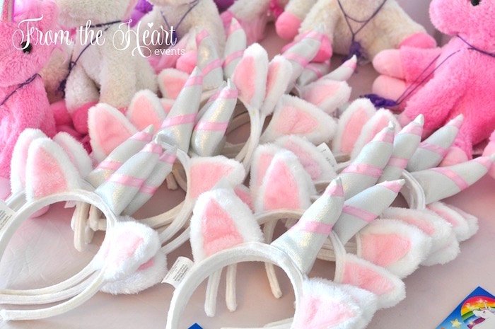 Unicorn headbands from a Rainbow Unicorn Birthday Party on Kara's Party Ideas | KarasPartyIdeas.com (26)
