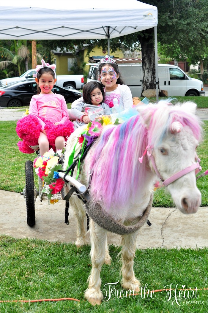 Unicorn-drawn carriage rides from a Rainbow Unicorn Birthday Party on Kara's Party Ideas | KarasPartyIdeas.com (23)