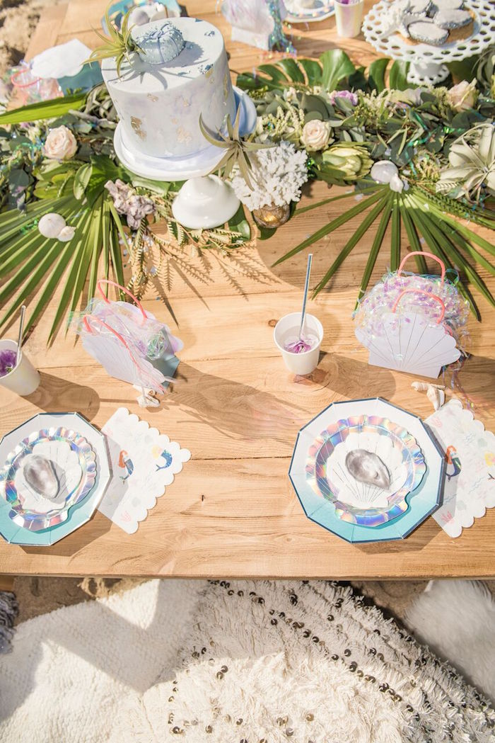 Guest tabletop from a Seaside Mermaid Party on Kara's Party Ideas | KarasPartyIdeas.com (22)