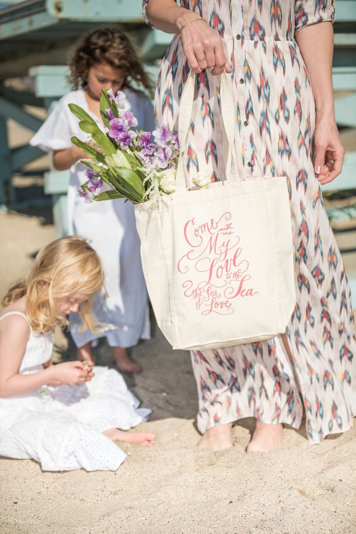 Canvas bag from a Seaside Mermaid Party on Kara's Party Ideas | KarasPartyIdeas.com (31)