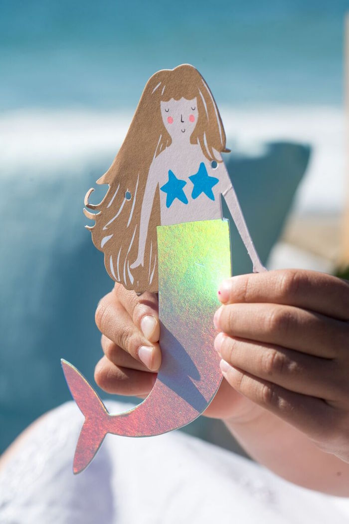 Paper mermaid doll from a Seaside Mermaid Party on Kara's Party Ideas | KarasPartyIdeas.com (8)