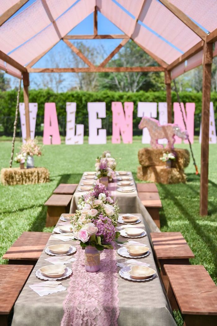 Guest tablescape from a Shabby Chic Cowgirl Birthday Party on Kara's Party Ideas | KarasPartyIdeas.com (37)