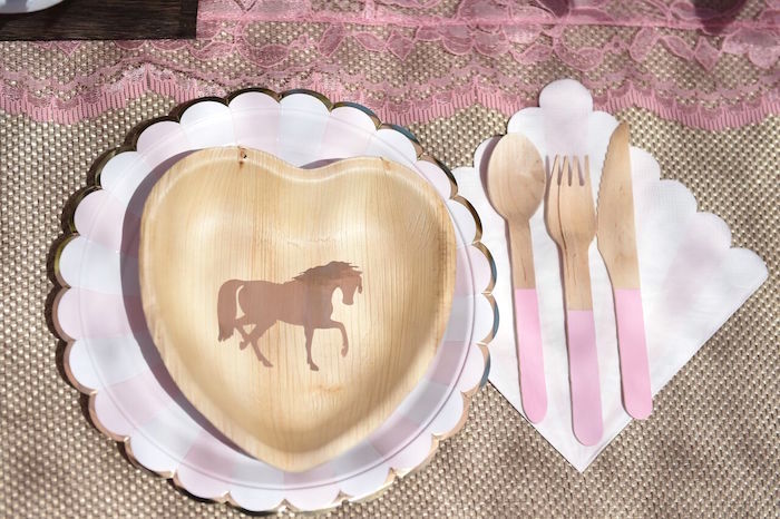 Place setting from a Shabby Chic Cowgirl Birthday Party on Kara's Party Ideas | KarasPartyIdeas.com (35)