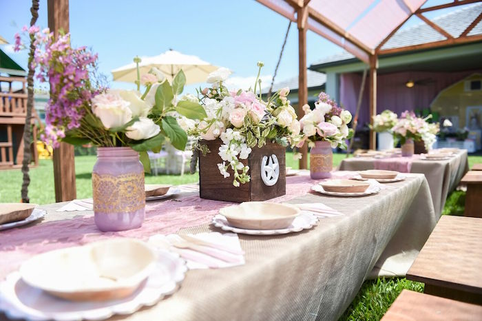 Guest tablescape from a Shabby Chic Cowgirl Birthday Party on Kara's Party Ideas | KarasPartyIdeas.com (34)