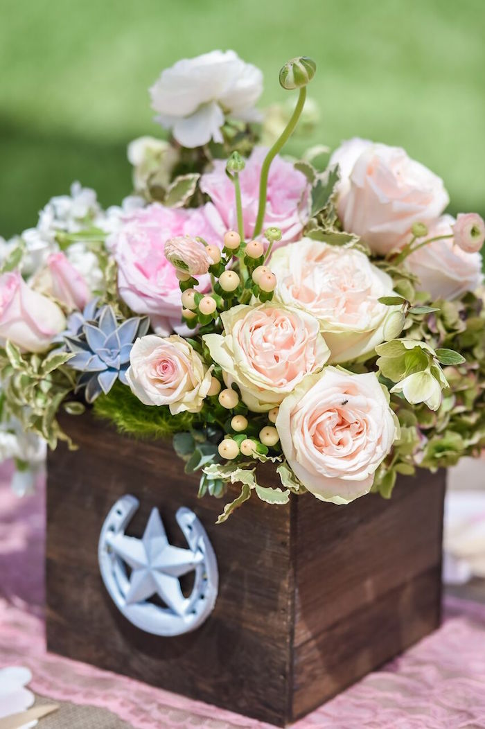Western floral arrangement from a Shabby Chic Cowgirl Birthday Party on Kara's Party Ideas | KarasPartyIdeas.com (29)