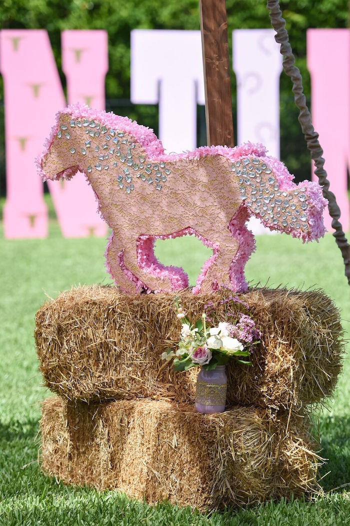 Lace horse pinata from a Shabby Chic Cowgirl Birthday Party on Kara's Party Ideas | KarasPartyIdeas.com (28)